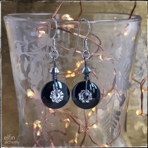 elfin alchemy gemstone disc earrings with swarovski crystal, Elfin Alchemy. Pedddle.