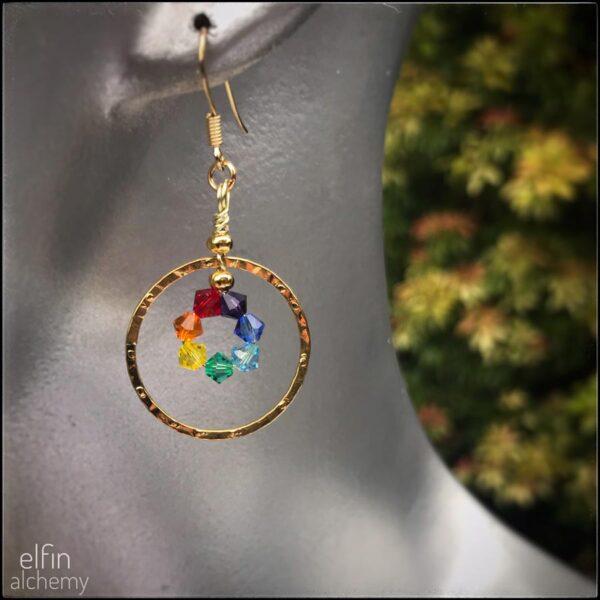 beautiful rainbow chakra coloured earrings by elfin alchemy