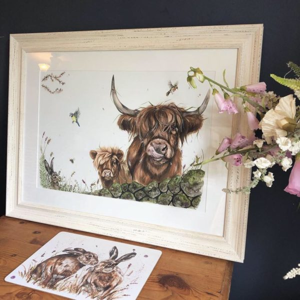 Spring Breeze Highland cow painting by Hollie Childe Art