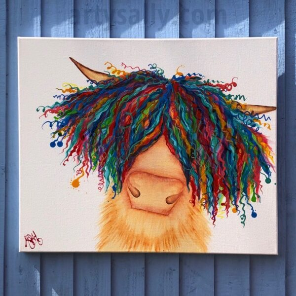 Arty Sally Highland Cow Painting