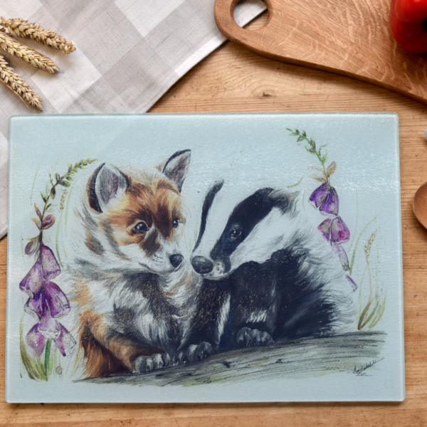 Fox and badger glass worktop saver by Hollie Childe Art