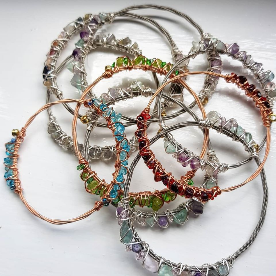 Multi gem bangles bracelets, String Effects. Pedddle.