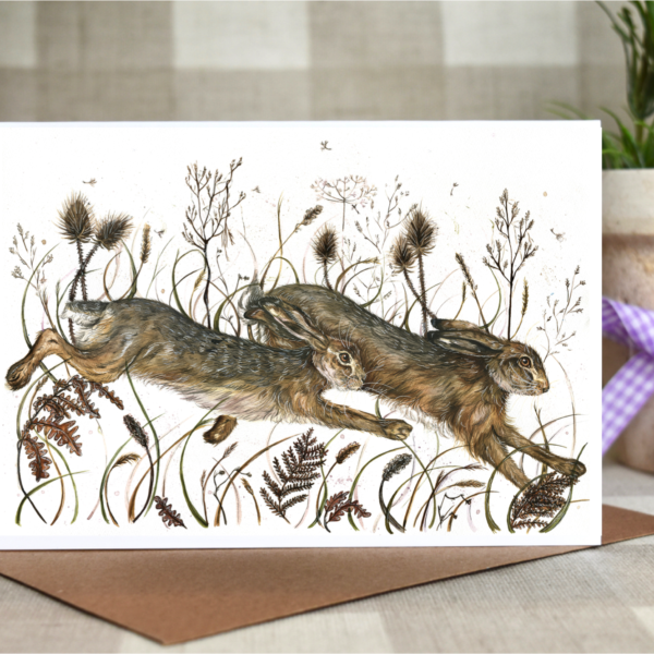 running hares card by Hollie Childe art