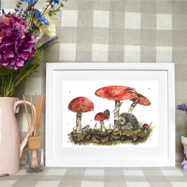 Hedgehog and Mushrooms watercolour painting by Hollie Childe Art