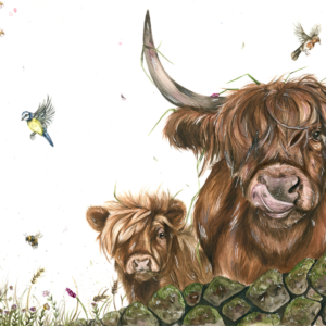 highland cows and hare watercolour painting