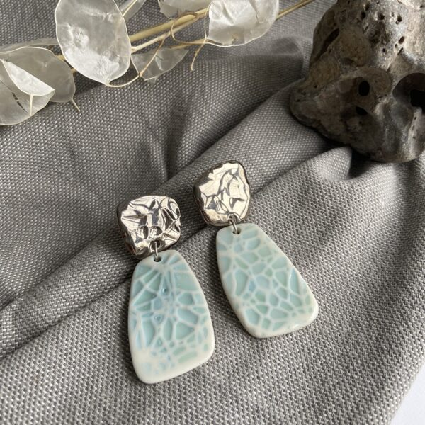Grid Dangle Earrings Blue Platinum - Nicola Briggs Ceramics