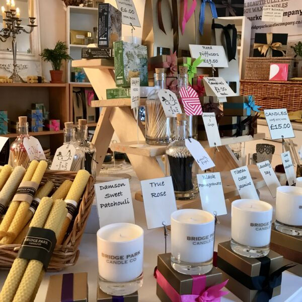 Bridge Park Candle Company products set out on a stall
