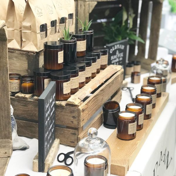 Old Man and Magpie Candle Co at the Palm House market, Pedddle