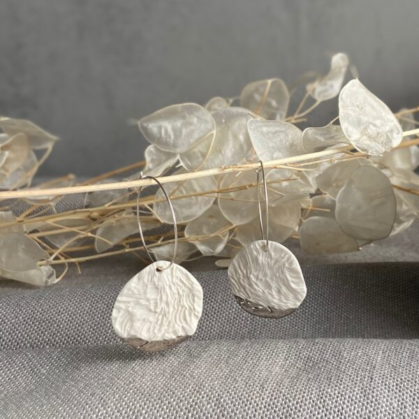 Organic Textured Porcelain Earrings with platinum Details on Sterling Silver Hoops