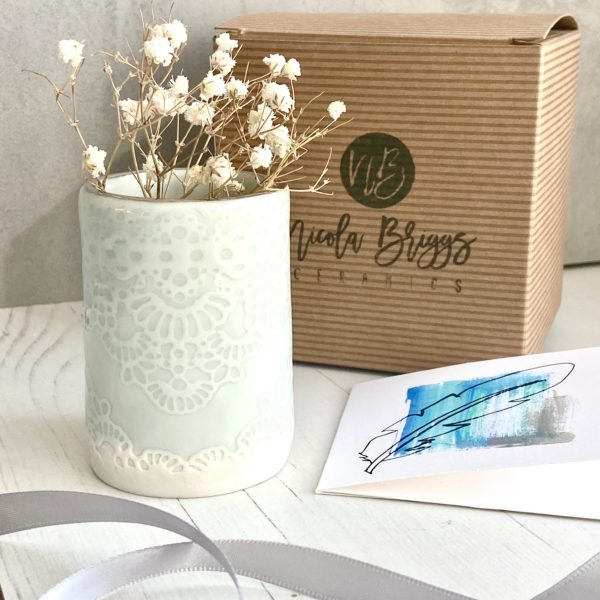 Lace Mini Planter with Platinum Rim
