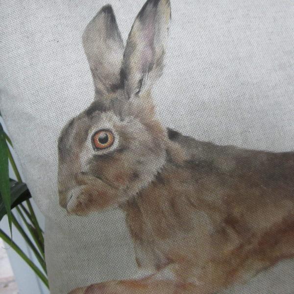 Handmade Leaping Hare cushion