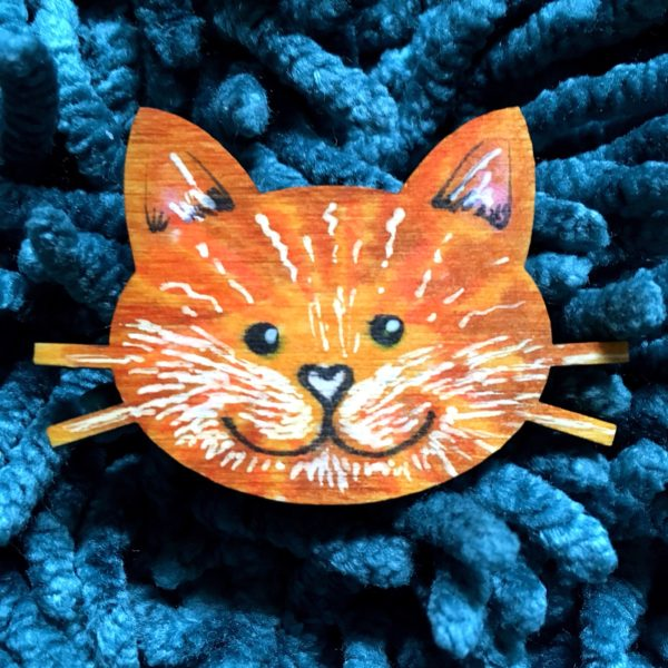 Hand-painted Wooden Cat Face Brooch