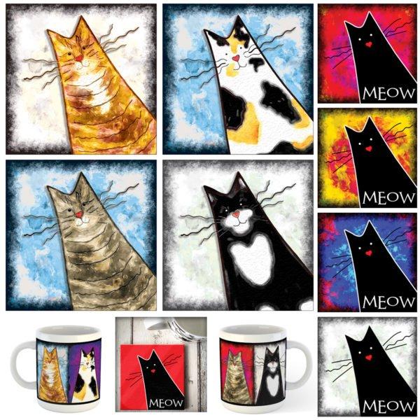 Cat mugs and coasters