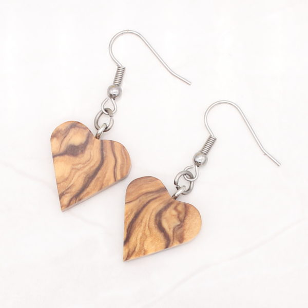 Olivewood heart earrings