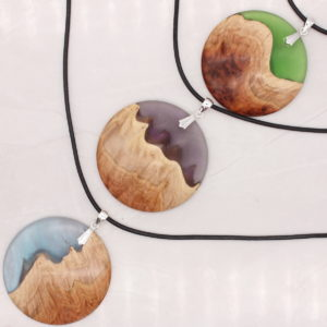 Wood and resin landscape pendants - Woodcraft by Owen