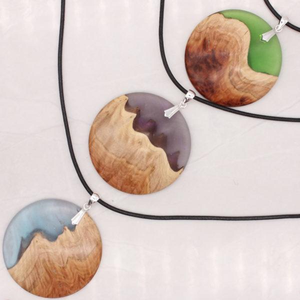 Wood and resin landscape pendants - Woodcraft by Owen