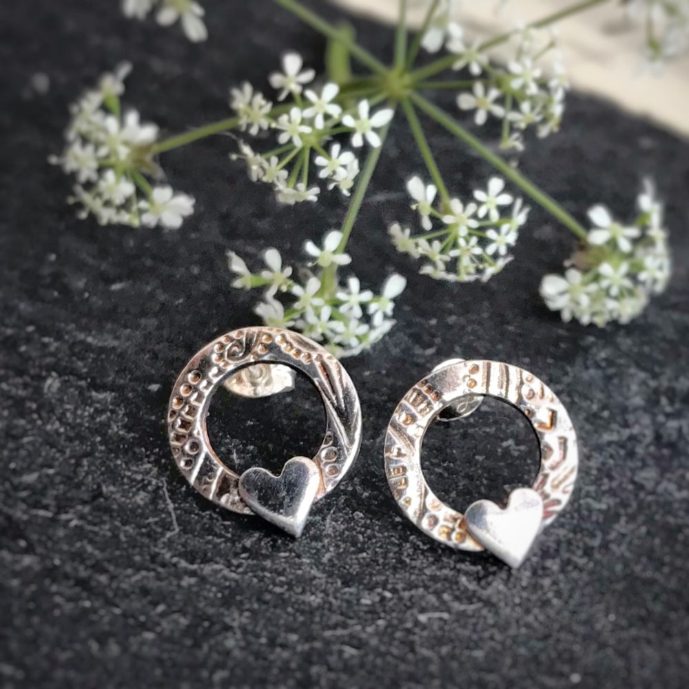 Rachel Anne Jewellery, Pedddle. Circle and heart studs