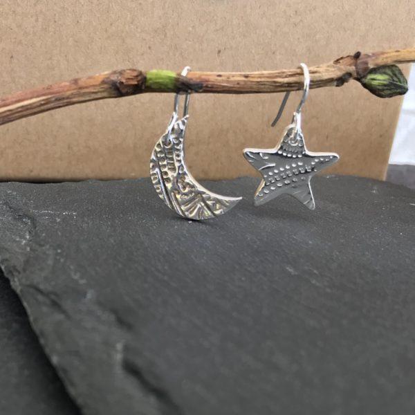 Rachelanne jewellery, pedddle. silver star and moon earrings