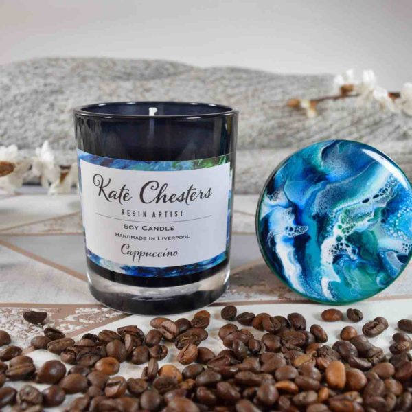 Cappuccino Coffee Candle soy wax resin art lid abstract art unique birthday gifts