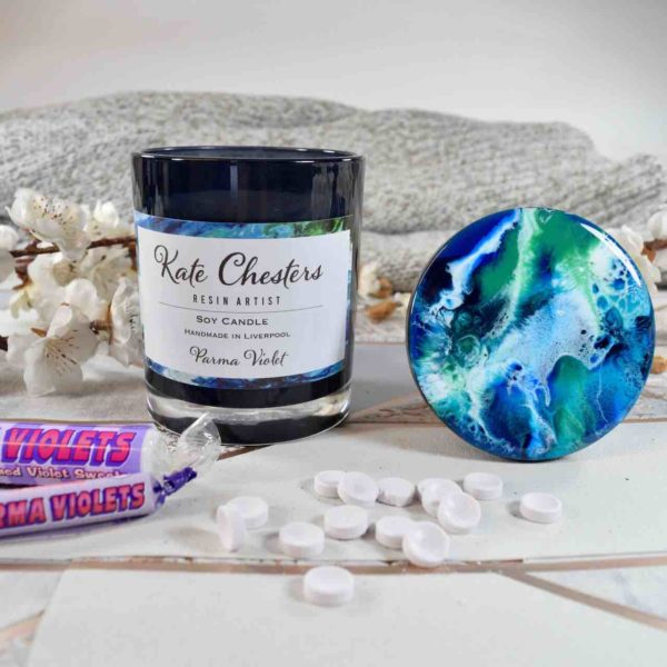 parma violet Candle soy wax resin art lid abstract art unique birthday gifts