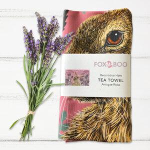 Decorative Hare Tea Towel by Fox & Boo