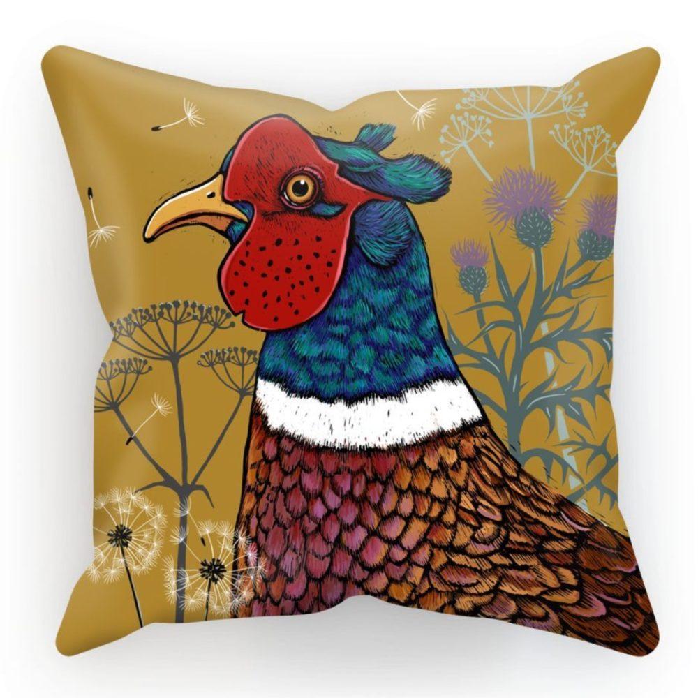 Pheasant cushion by fox and boo