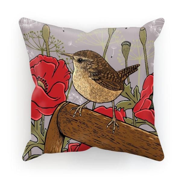 Poppies & Wren Cushion in Cappuccino; Fox & Boo