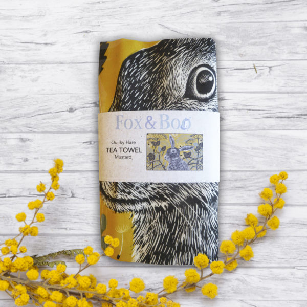 Quirky Hare Tea Towel in Mustard by Fox and Boo