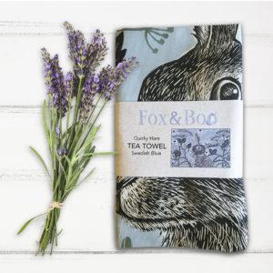 Quirky Hare Tea Towel; Swedish Blue: Fox & Boo