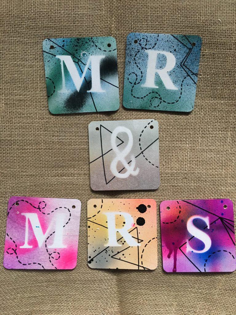 Mr & Mrs coasters, Valentines, wedding. Roobydoo. Pedddle.