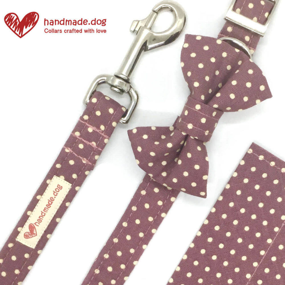 handmade.dog spotty fabric dog accessory set, Pedddle