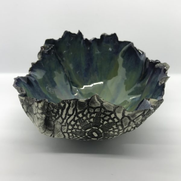 Porcelain, bowl, dish, inspired by the sea, shells, decorative, handmade, home decor, glaze, black iron oxide, stains, decorative bowl