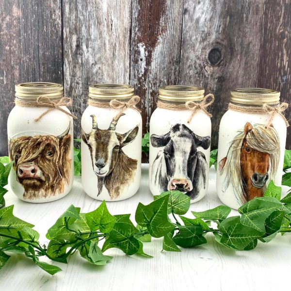 Farmyard Animal Mason Jars