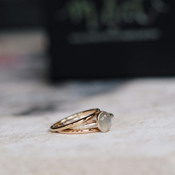 gold and rose gold bands with labradorite gem ring