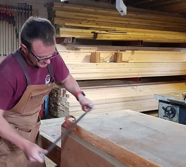 Busy in the workshop stripping the live edge on some larch