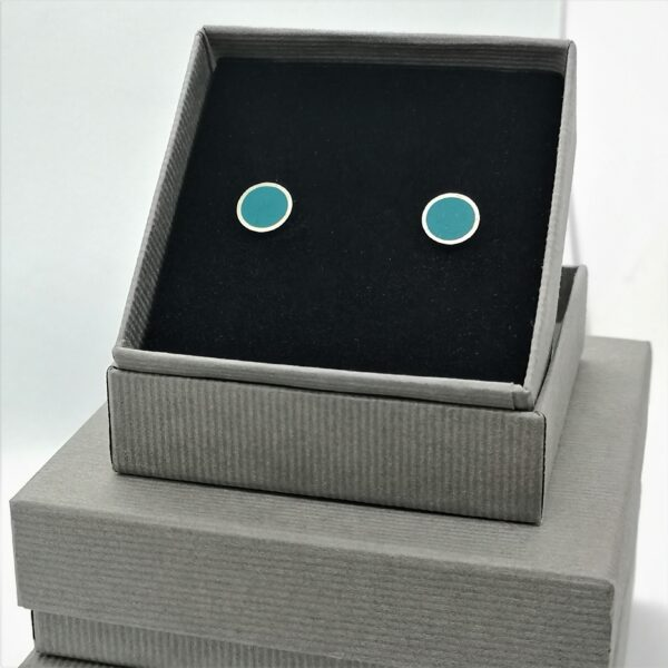 iluna designs, Domus earrings, Stirling silver dome stud earrings with turquoise resin inlay