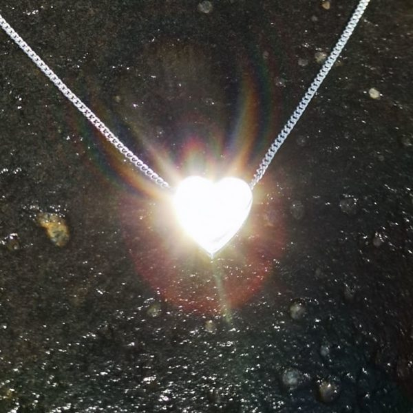 iluna designs, 1cm wide silver heart pendant, double sided, one shiny and one matt