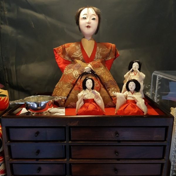 Vintage Whatnots - Japanese dolls in red outfits