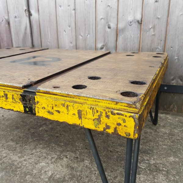 Vintage Whatnots - Mill cart coffee table with hair pin legs