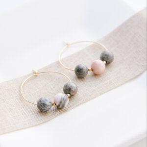 Pink Jasper Hoop Earrings - January Eleven