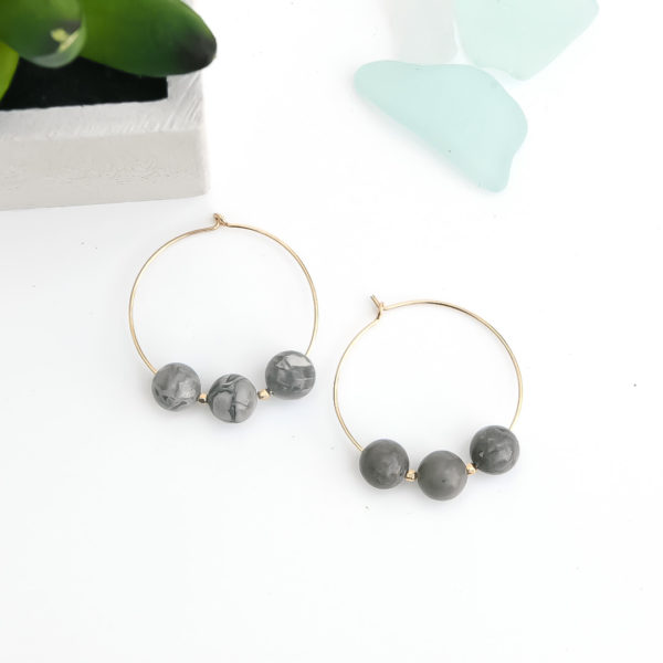January Eleven, - Grey Mapstone Hoops in Gold Filled, 3 mapstone breads separated by a square gold filled bead on a gold filled hoop