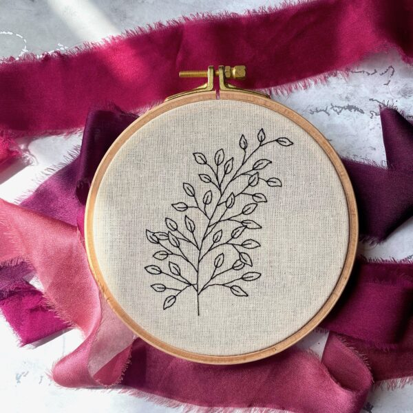 Embroidery Hoop. Sketched branches style.