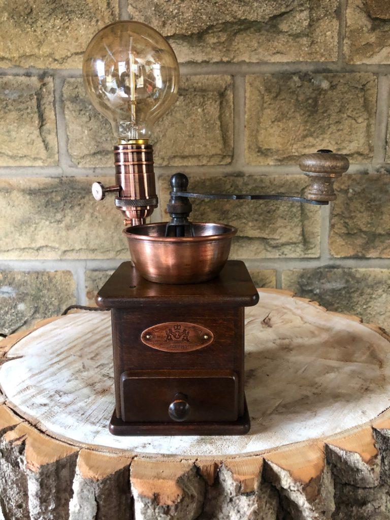 Coffee Grinder Lamp, stirring silver