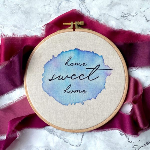 Embroidery Hoop. Watercolour Home sweet home. Titchy Stitch, Pedddle