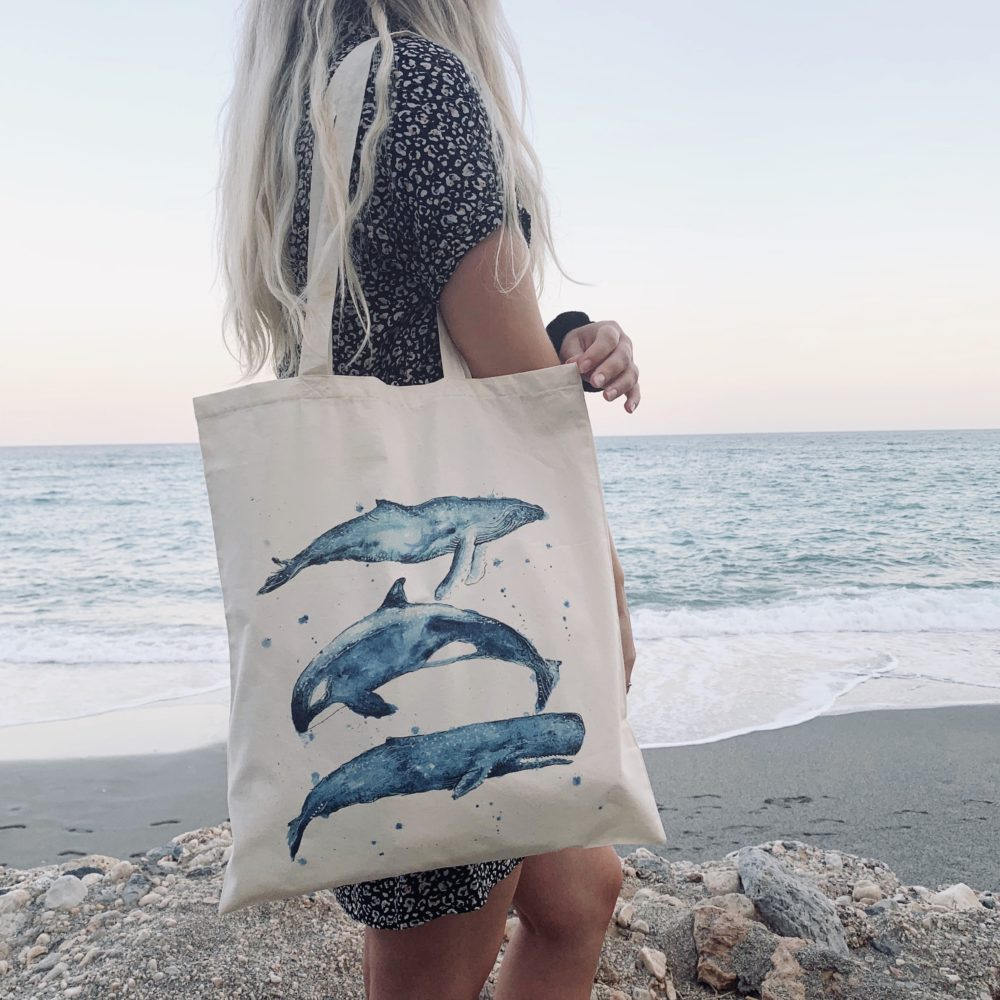 Whale Tail Trio Tote, Whale Tail Art. Pedddle