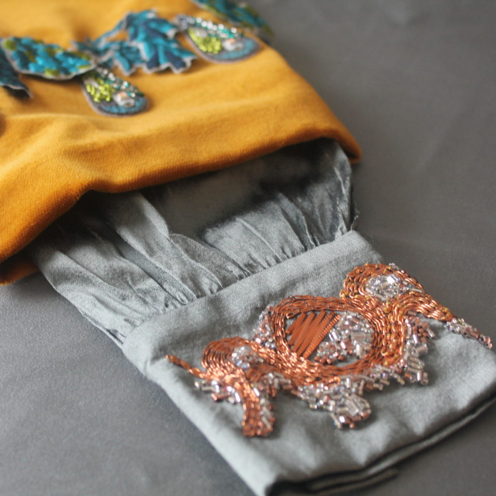 Tabitha Buckley Textiles, Goldwork silk sleeve and embellished stumpwork. Pedddle