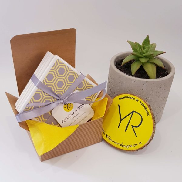 Yellow and Grey Honeycomb Tile Coaster Gift Set of 4 by Yellow Room Designs
