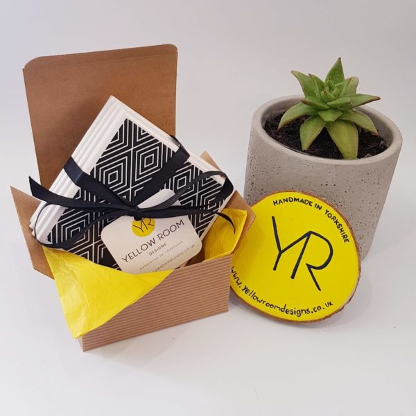 Monochrome Tile Coaster Gift Set of 4 by Yellow Room Designs