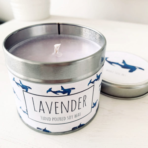 Lavender Candle. Whale Tail Art. Pedddle