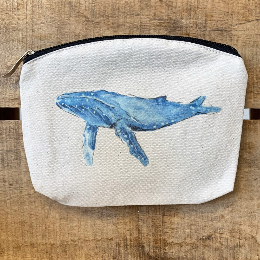 Whale make up bag, Whale Tail Art. Pedddle